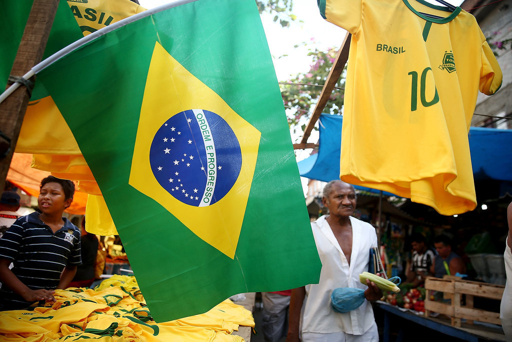 Brazil merchandise was put out ahead of the World Cup.