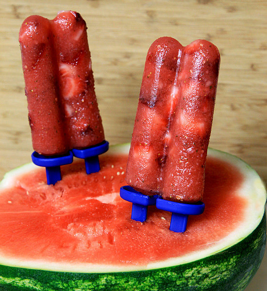 Watermelon Strawberry Mint Popsicle