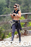 Vanessa Hudgens revealed her toned abs while out on a hike in LA on Tuesday.