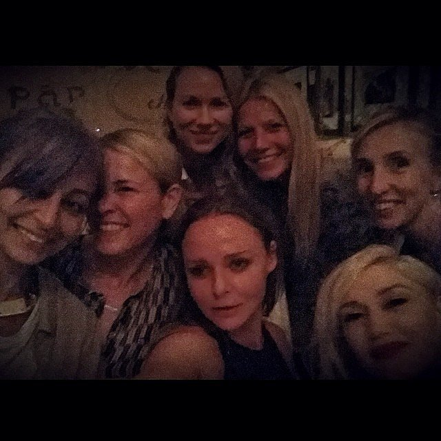 "Gwyneth Paltrow's ""#girlsnight"" snap with Nicole Richie, Chelsea Handler, Naomi Watts, Gwen Stefani, and Stella McCartney proved the ladies are actually real-life pals.  Source: Instagram user gwynethpaltrow"