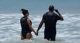 Kim and Kanye waded into the water. 