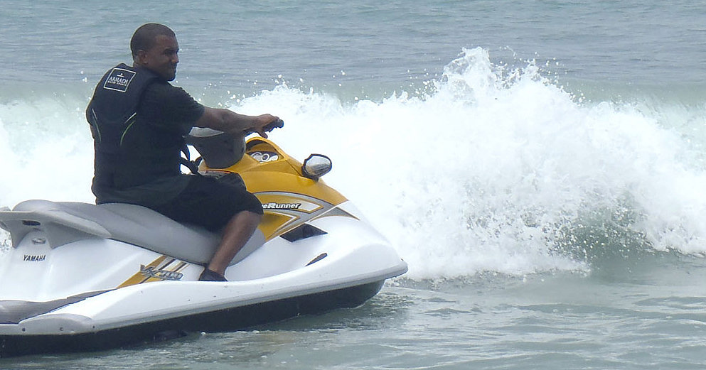 Kanye went water-skiing.  Source: Casa Aramara