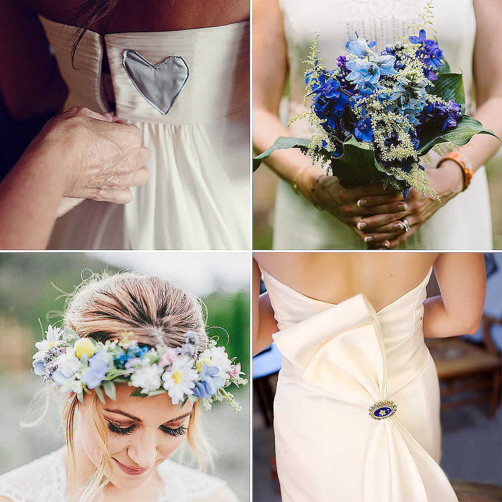 "As far as wedding traditions go, the four ""somethings"" a bride should wear as she walks down the aisle are a treasured tradition. But with the stress that goes into modern-day wedding planning, sometimes little things can fall through the cracks. If you're stumped on your something blue, there's nothing to worry about. POPSUGAR Fashion has rounded up some seriously gorgeous inspiration for your big day. Source: The Robertsons,  Alissa Ferullo Photography, Zac Wolf Photography, and Sequins and Candy Photography  via Style Me Pretty"
