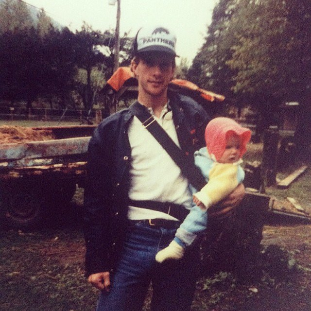 Carly Rae Jepsen and her dad donned his and her hats in her throwback snap. Source: Instagram user carlyraejepsen