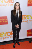 Ellen Page wore a sleek black suit.