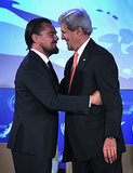 Leonardo DiCaprio hugged John Kerry at the Our Ocean conference in Washington, DC on Tuesday.