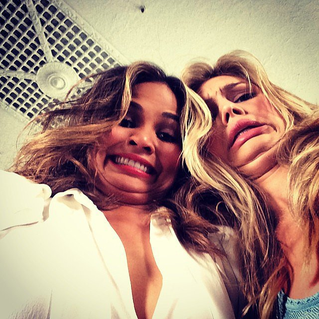 Chrissy Teigen goofed off with model Kelly Rohr. Source: Instagram user chrissyteigen