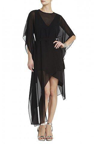 BCBG Suzy Short Sleeves Asymmetrical Draped Plunging Neckline Silk Dress Black
