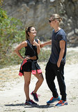 Vanessa Hudgens and her beau, Austin Butler, stayed close while hiking in LA on Thursday.