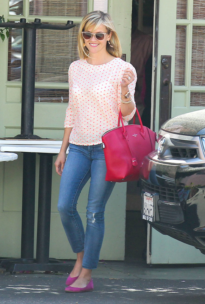 Reese Witherspoon in Polka-Dot Anthropologie Top