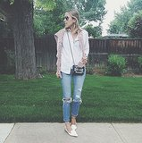 Add polish to distressed jeans with pointy-toed flats and a classic button-up. Source: Instagram user damselindior