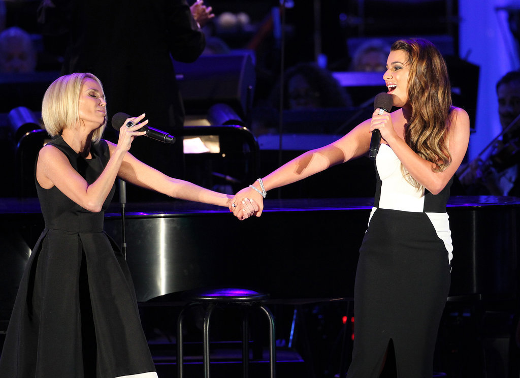 Kristin Chenoweth and Lea Michele sang a duet at the Hollywood Bowl in LA on Saturday.