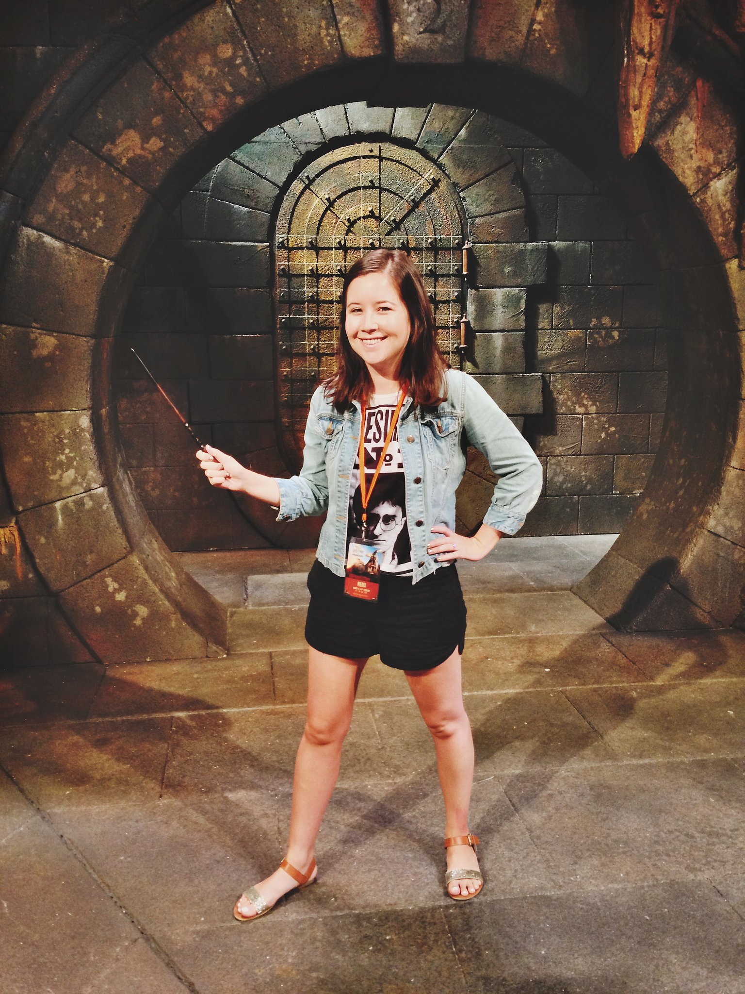 I had to pose with my wand in the Gringotts interview set.
