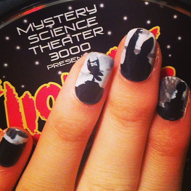 When heckling a bad movie from your living room couch isn't enough, add the robots of Mystery Science Theater — to your nails ($10 for the set) — and have some backup!