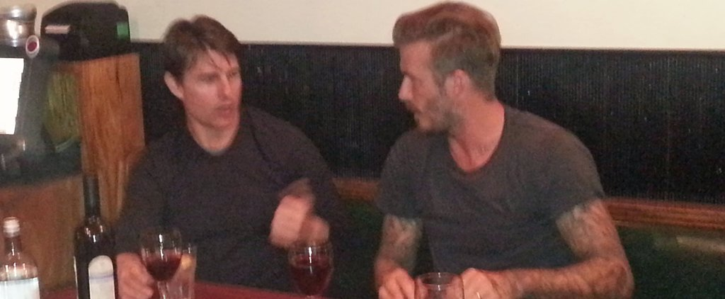David Beckham and Tom Cruise Casually Chat Over a Bottle of Wine