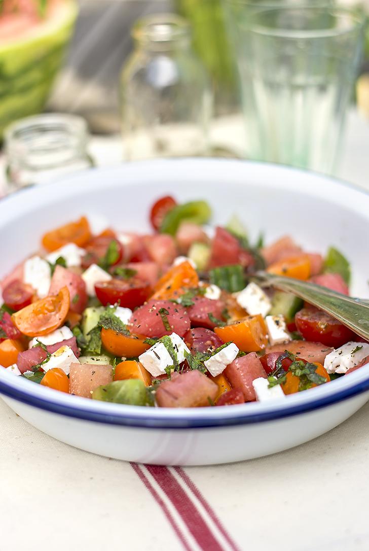 watermelon greek salad recipe popsugar food. Black Bedroom Furniture Sets. Home Design Ideas