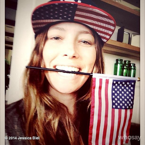 Jessica Biel accessorized appropriately for Team USA's match against Germany. Source: Instagram user jessicabiel