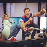 Ryan Seacrest and Ellen K. multitasked by watching the Team USA vs. Germany match while doing their radio show. Source: Instagram user ryanseacrest