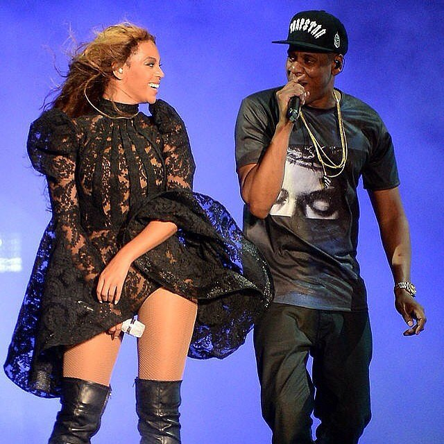 Beyoncé in a Lace Leotard and Jay Z in a T-Shirt