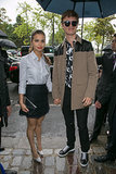Ansel Elgort and his girlfriend, Violetta Komyshan, headed to the Dior Homme fashion show in Paris on Saturday.