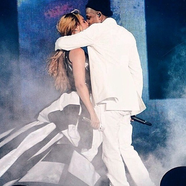 Beyoncé and Jay Z kissed on stage at their On the Run tour. Source: Instagram user beyonce