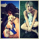 Kaley Cuoco and her husband, Ryan Sweeting, had a cuddle session with their new dog, Ruby. Source: Instagram user normancook