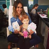Jessica Alba had a visitor at work — Haven Warren —to help show off her company's latest diaper designs. Source: Instagram user jessicaalba