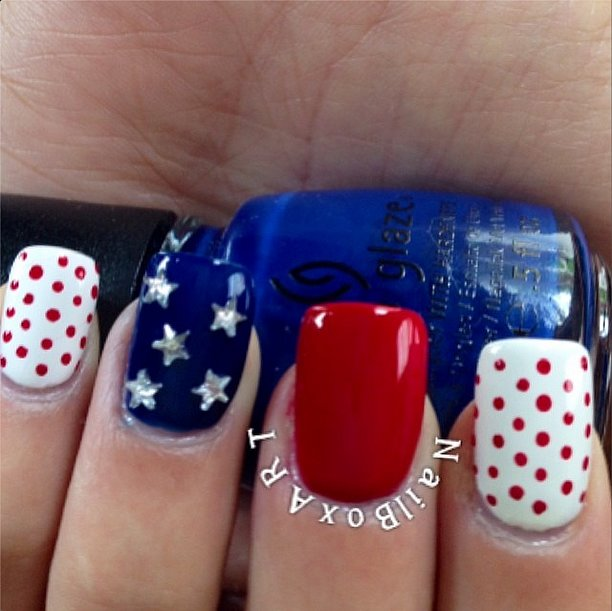 Want perfect polka dots like these? Try using a dotting tool. Source: Instagram user nailboxart