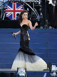 National treasure Cheryl Cole dazzled the crowd in this shimmering couture fishtail dress by Eva Minge at the Diamond Jubilee Concert in 2012.