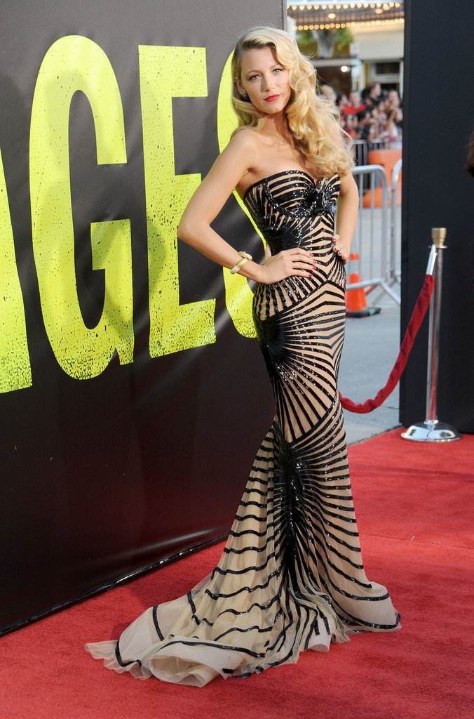We love this unusual Zuhair Murad gown worn by Blake Lively to the Savages premiere in LA. The nude silk-tulle design featured an intricate pattern of hand-embroidered black beading, which gave it a striking optical-illusion effect.