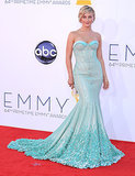 Julianne Hough opted for an aquamarine gown embellished with Swarovski crystals for the 2012 Emmy Awards. It was from the Georges Hobeika couture collection.