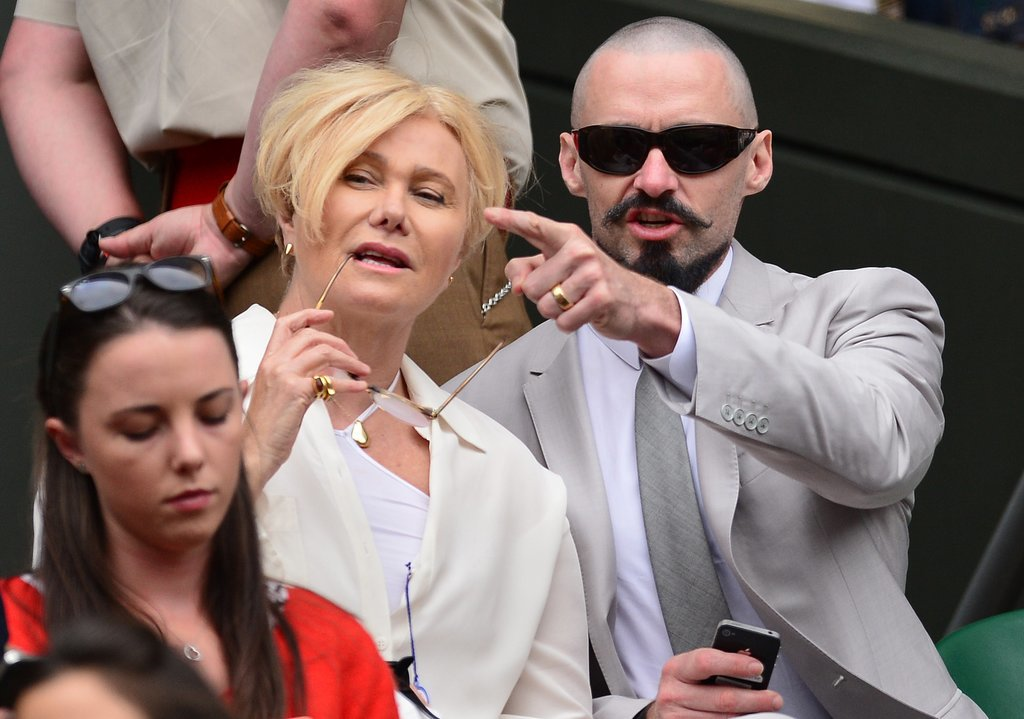 Hugh chatted with wife Deborra-Lee Furness.