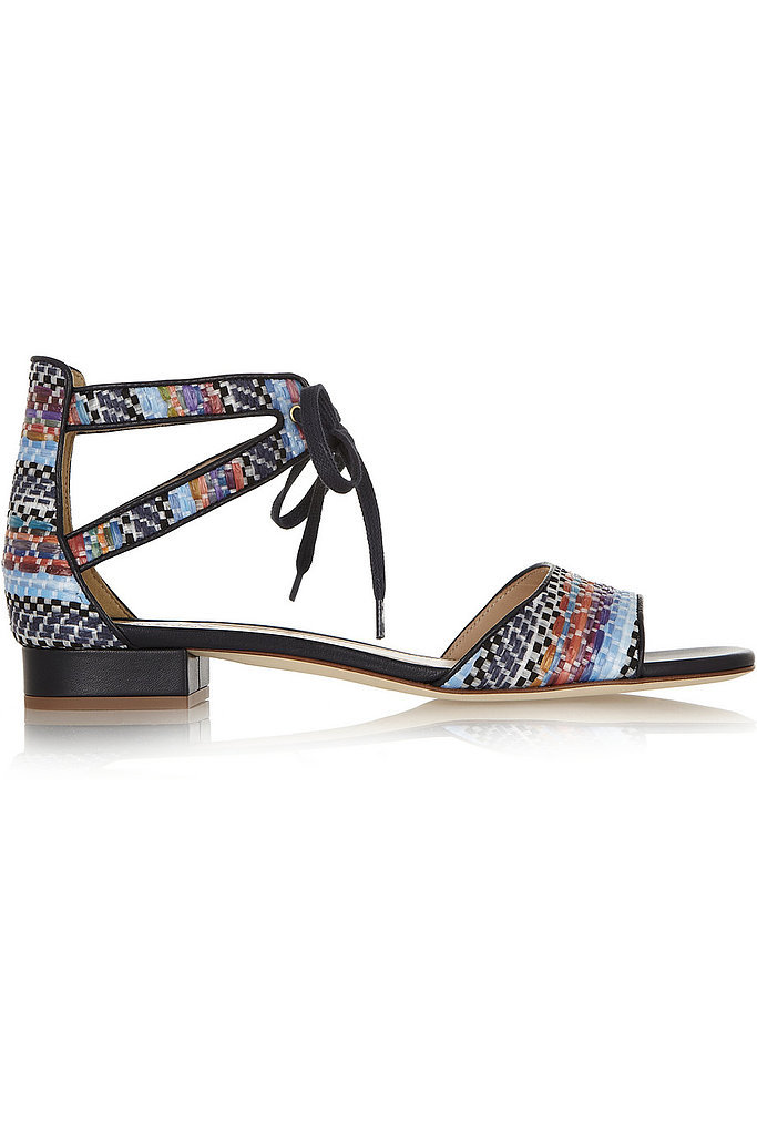 J.Crew Leather-Trimmed Raffia Sandals ($270)