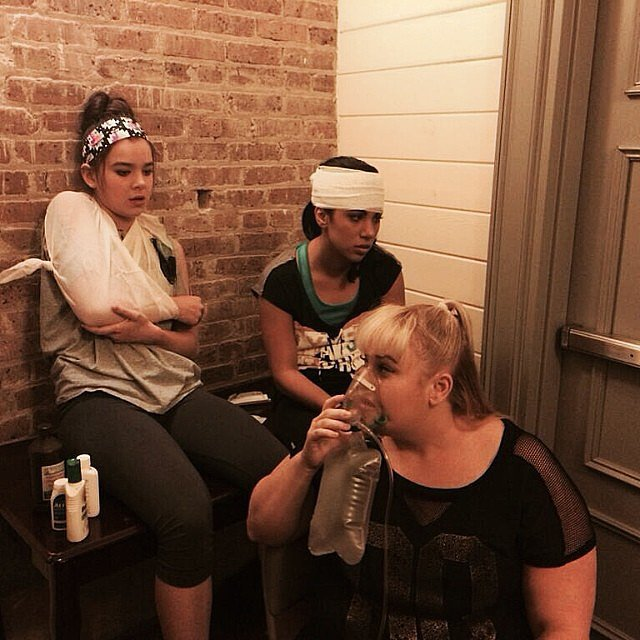 Wilson posted this pic, and we sincerely hope those are movie bandages. Source: Instagram user rebelwilson