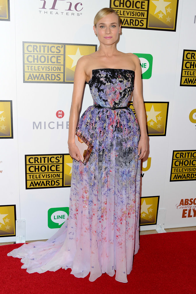 Diane had a fairy-tale moment — one of many, actually — posing in a floral full skirt Elie Saab creation at the 2014 Critics' Choice Awards.