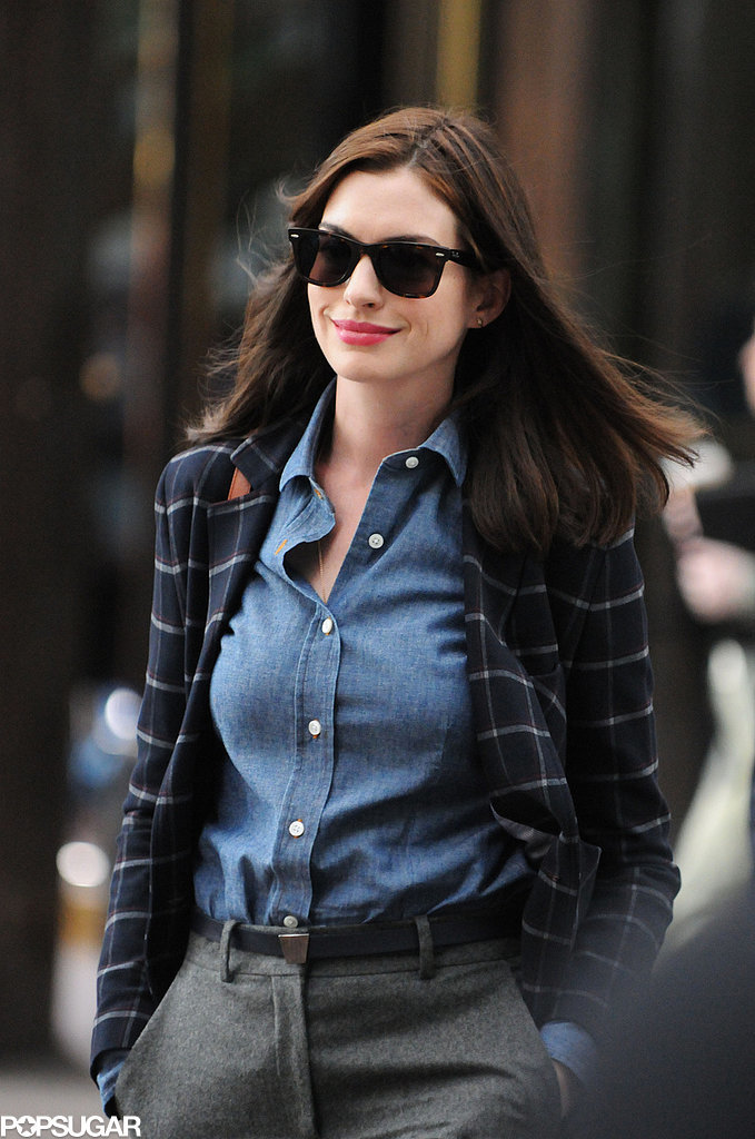 Anne Hathaway filmed The Intern in NYC on Wednesday.