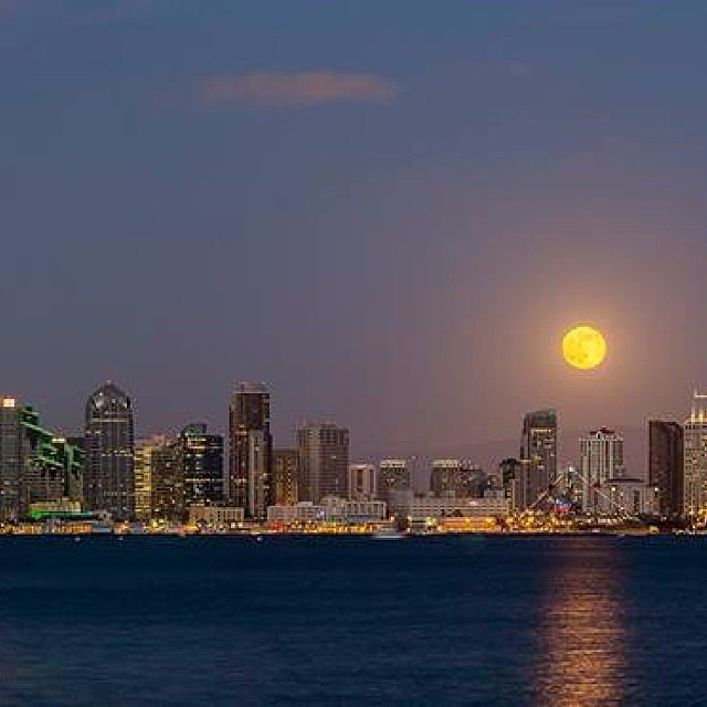 The supermoon hangs out over the San Diego skyline. Source: Instagram user sandiegoreader