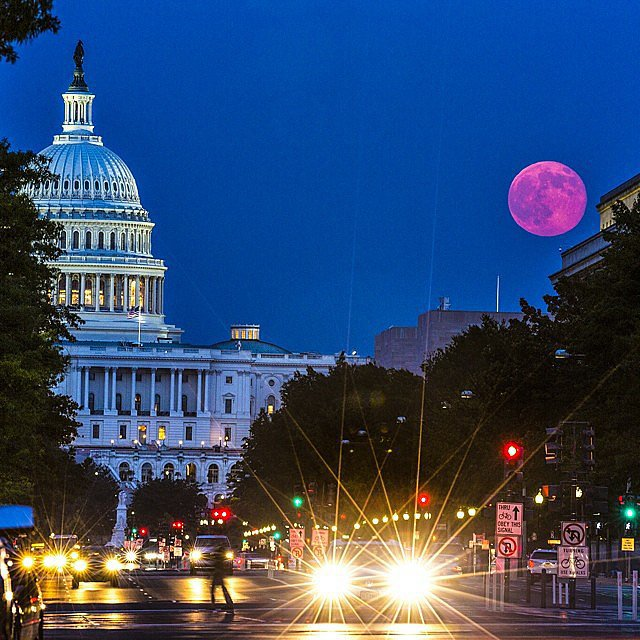 "From National Geographic's Instagram on July 12: ""A view of down Pennsylvania Ave as the super moon rises over the United States Capitol building."" Source: Instagram user NatGeo"