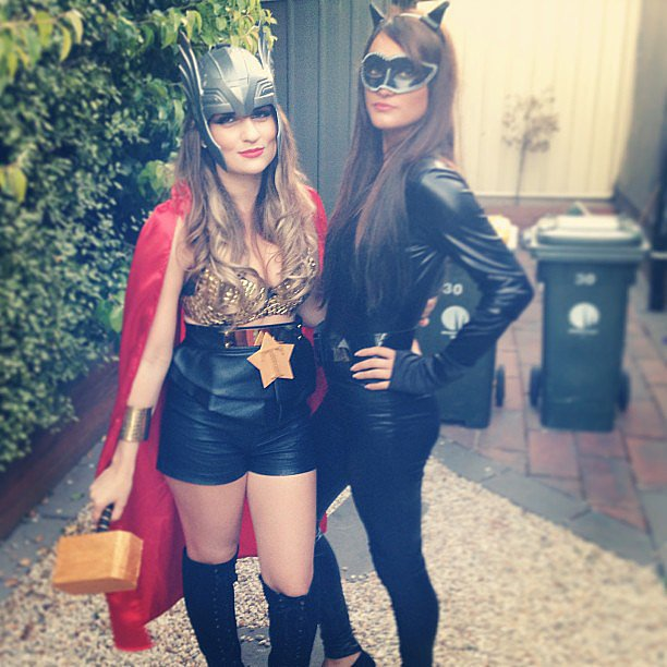 High-waisted leather shorts make for a chic, party-ready Thor girl outfit. Source: Instagram user _australien