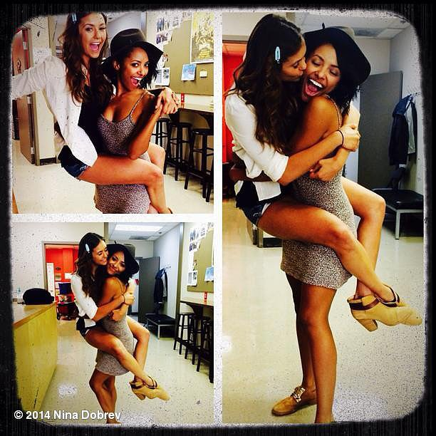 Nina Dobrev and Kat Graham were happy to reunite on the set of The Vampire Diaries. Source: Instagram user ninadobrev