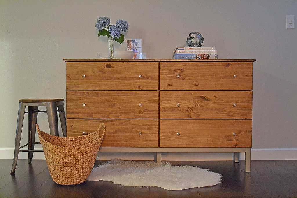 If you love the look of modern dressers, this DIY is for you. In three easy steps, you can transform Ikea's Tarva dresser into what looks like a $1,600 piece!   Photo: Lauren Turner