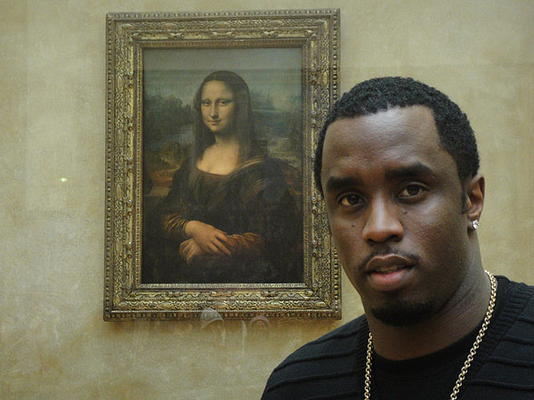 Diddy hung out with Mona Lisa. (OK, maybe it only looks like she's aware he's taking a selfie). Source: Twitpic user iamdiddy