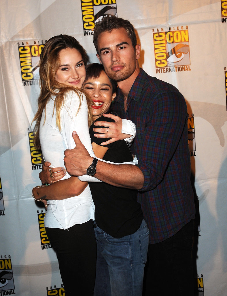 Shailene Woodley and Theo James sandwiched their Divergent costar Zoë Kravitz at the movie's panel in 2013.