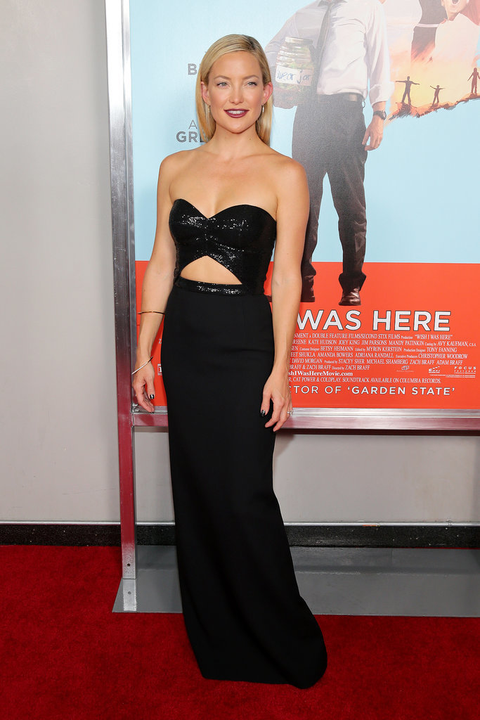 Kate Hudson brought the drama in a bold, cutout strapless gown at the NYC premiere of Wish I Was Here.