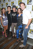 Nina Dobrev, Paul Wesley, Ian Somerhalder, Kat Graham, and Matthew Davis took group pictures at the Vampire Diaries event on Saturday.