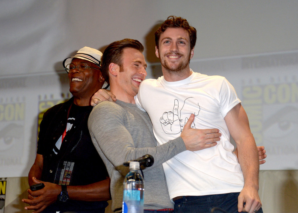 Samuel L. Jackson, Chris Evans, and Aaron Taylor-Johnson were in great spirits at the Marvel panel on Saturday.