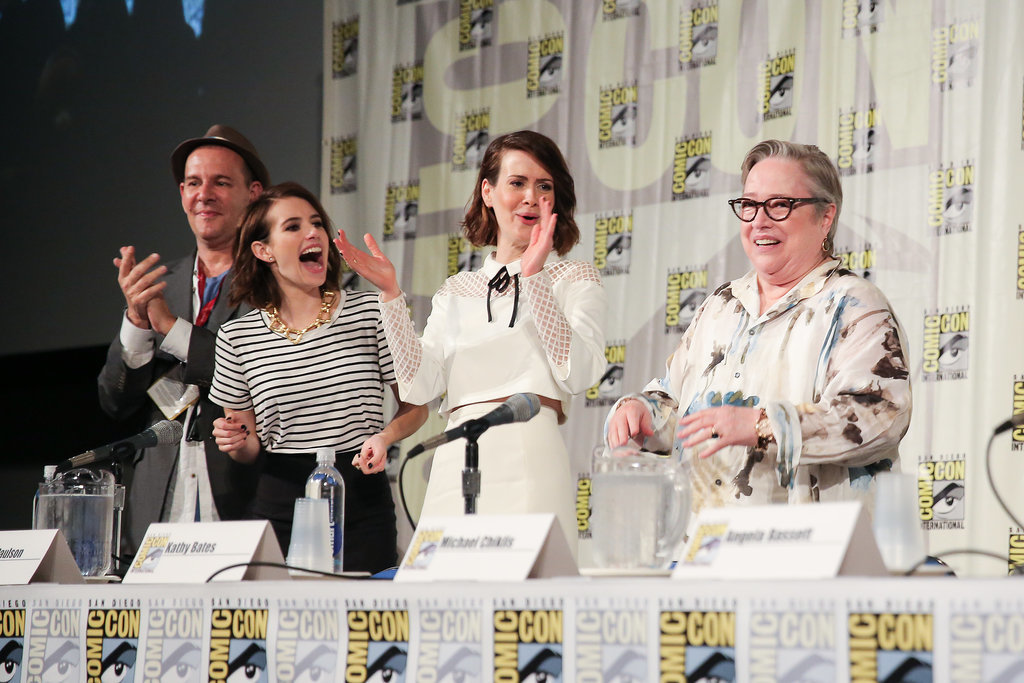 Emma Roberts, Sarah Paulson, and Kathy Bates had a special moment while discussing American Horror Story: Coven on Saturday.