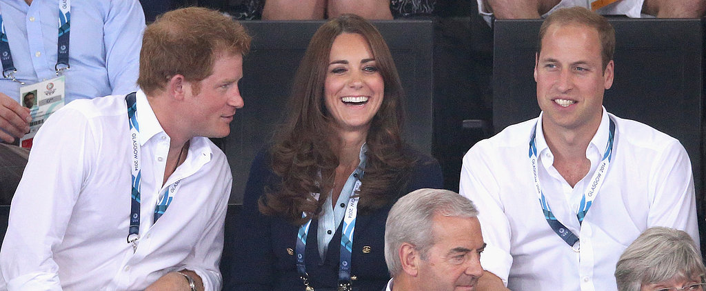 Kate, Will and Harry Avoid a Photobomb at the Commonwealth Games