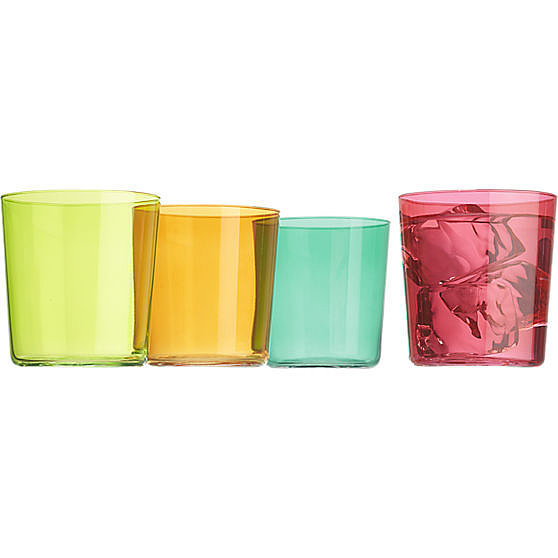 Add a bright pop of color to your bar cart with these old fashioned glasses ($3).