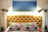 There are several ways to approach a DIY tufted headboard, but we're anxious to try this one. The mustard colored fabric is right on trend.  Source: Little Green Notebook